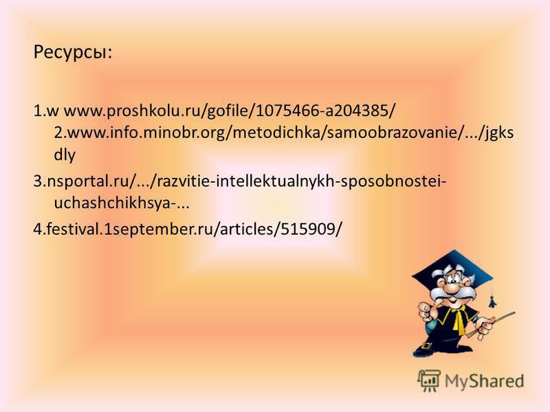 Ресурсы: 1. w www.proshkolu.ru/gofile/1075466-a204385/ 2.www.info.minobr.org/metodichka/samoobrazovanie/.../jgks dly 3.nsportal.ru/.../razvitie-intellektualnykh-sposobnostei- uchashchikhsya-... 4.festival.1september.ru/articles/515909/