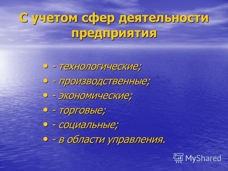 С учетом сфер деятельности предприятия - технологические; - производственные; - экономические; - торговые; - социальные; - в области управления.