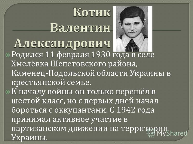 Родился 11 февраля 1930 года в селе Хмелёвка Шепетовского района, Каменец - Подольской области Украины в крестьянской семье. К началу войны он только перешёл в шестой класс, но с первых дней начал бороться с оккупантами. С 1942 года принимал активное