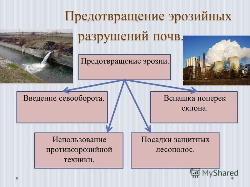 Предотвращение эрозийных разрушений почв. Предотвращение эрозийных разрушений почв. Предотвращение эрозии. Введение севооборота.Вспашка поперек склона. Использование противоэрозийной техники. Посадки защитных лесополос.