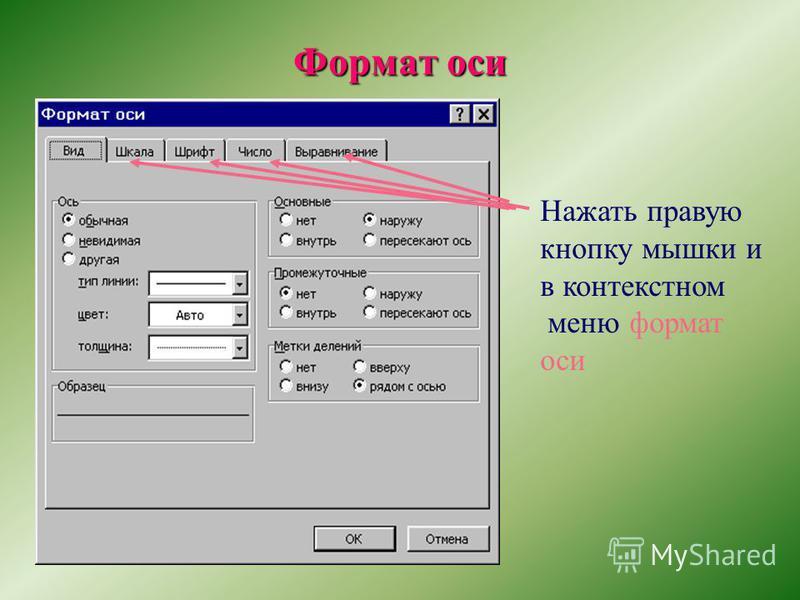 Формат оси Нажать правую кнопку мышки и в контекстном меню формат оси