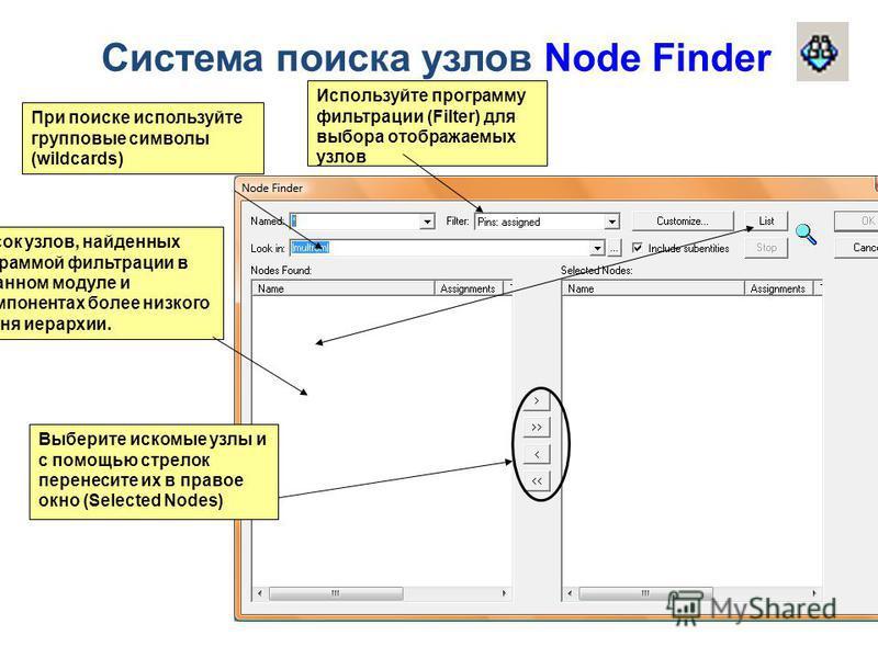 Система поиска узлов Node Finder При поиске используйте групповые символы (wildcards) Список узлов, найденных программой фильтрации в указанном модуле и в компонентах более низкого уровня иерархии. Используйте программу фильтрации (Filter) для выбора