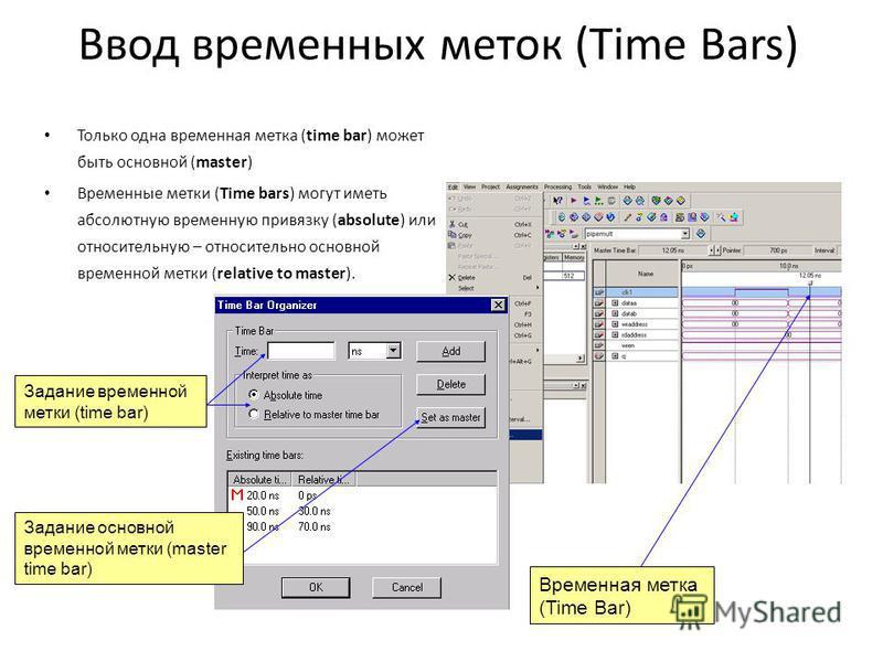 Ввод временных меток (Time Bars) Только одна временная метка (time bar) может быть основной (master) Временные метки (Time bars) могут иметь абсолютную временную привязку (absolute) или относительную – относительно основной временной метки (relative