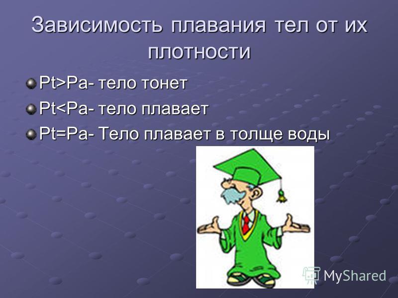 Зависимость плавания тел от их плотности Pt>Pa- тело тонет Pt<Pa- тело плавает Pt=Pa- Тело плавает в толще воды