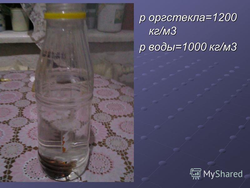 р оргстекла=1200 кг/м 3 р воды=1000 кг/м 3