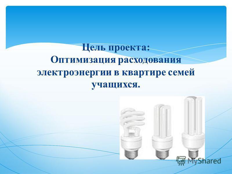 Цель проекта: Оптимизация расходования электроэнергии в квартире семей учащихся.