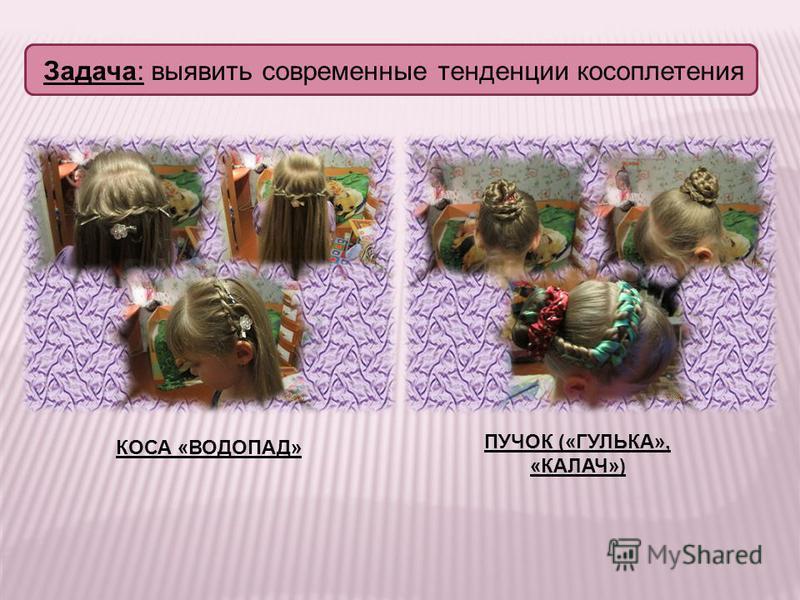 Задача: выявить современные тенденции косоплетения КОСА «ВОДОПАД» ПУЧОК («ГУЛЬКА», «КАЛАЧ»)