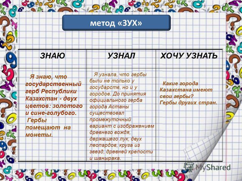 метод «ЗУХ» Я знаю, что государственный герб Республики Казахстан - двух цветов: золотого и сине-голубого. Гербы помещают на монеты. Я узнала, что гербы были не только у государств, но и у городов. До принятия официального герба города Астаны существ