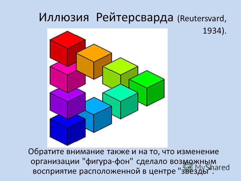 Иллюзия Рейтерсварда (Reutersvard, 1934). Обратите внимание также и на то, что изменение организации фигура-фон сделало возможным восприятие расположенной в центре звезды.