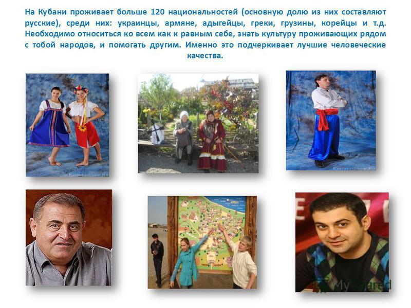 На Кубани проживает больше 120 национальностей (основную долю из них составляют русские), среди них: украинцы, армяне, адыгейцы, греки, грузины, корейцы и т.д. Необходимо относиться ко всем как к равным себе, знать культуру проживающих рядом с тобой