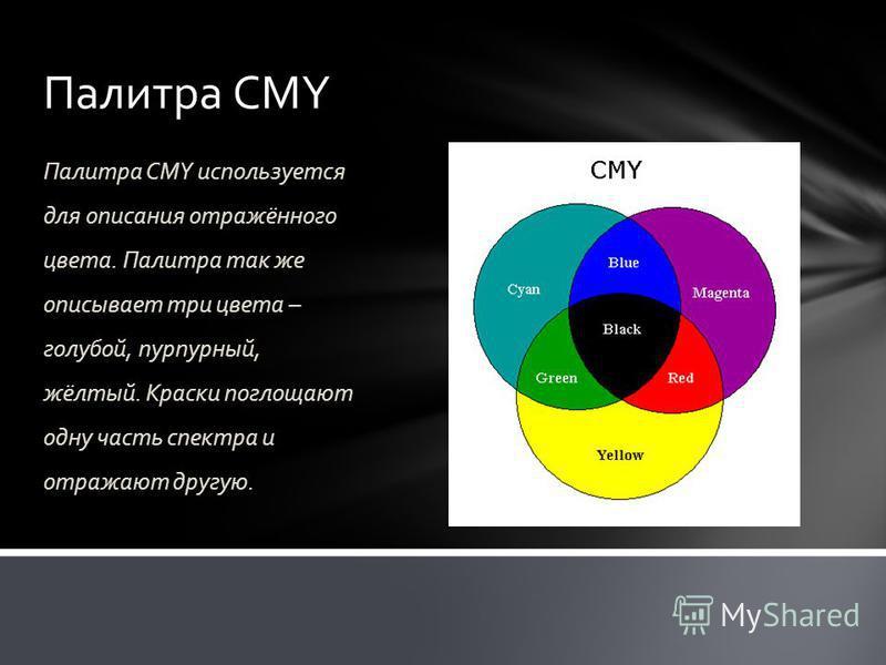 Палитра CMY Палитра CMY используется для описания отражённого цвета. Палитра так же описывает три цвета – голубой, пурпурный, жёлтый. Краски поглощают одну часть спектра и отражают другую.
