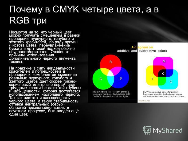 Почему в CMYK четыре цвета, а в RGB три Несмотря на то, что чёрный цвет можно получать смешением в равной пропорции пурпурного, голубого и жёлтого красителей, по ряду причин (чистота цвета, переувлажнение бумаги и др.) такой подход обычно неудовлетво