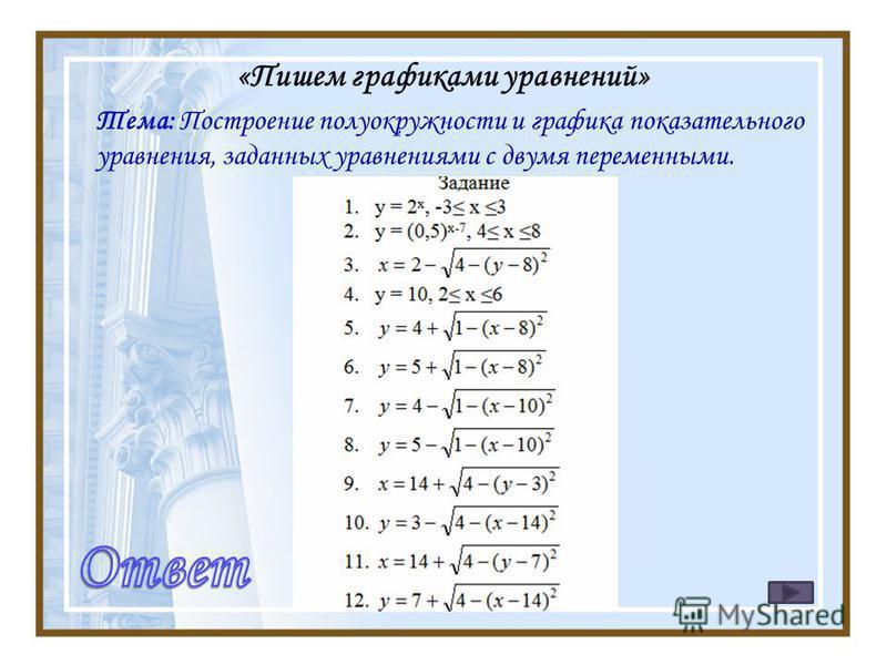 «Пишем графиками уравнений» Тема: Построение полуокружности и графика показательного уравнения, заданных уравнениями с двумя переменными.
