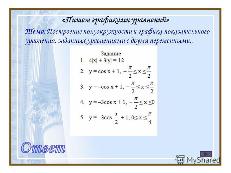 «Пишем графиками уравнений» Тема: Построение полуокружности и графика показательного уравнения, заданных уравнениями с двумя переменными..