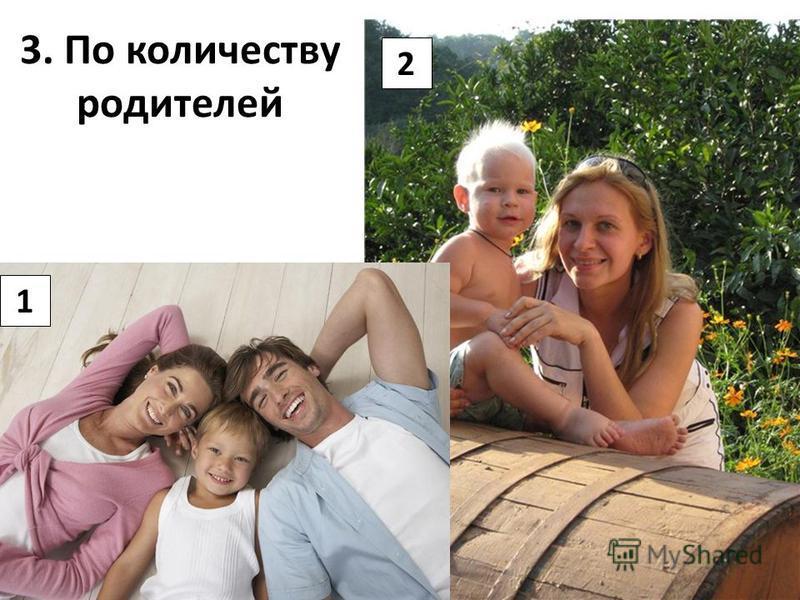 3. По количеству родителей 1 2