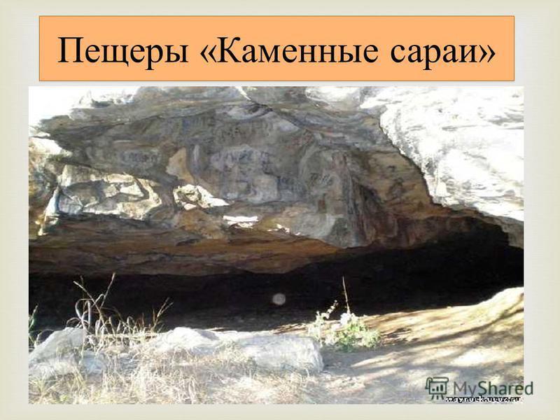 Пещеры «Каменные сараи» Группа небольших пещер, расположенных на северном склоне долины правого истока р. Томузловка. Они возникли в толще неогеновых известковых песчаников, образующих уступ длиной около 300 м. Пещеры имеют клиновидную форму и сужают