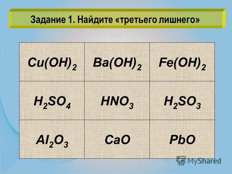 Cu(OH) 2 Ba(OH) 2 Fe(OH) 2 H 2 SO 4 HNO 3 H 2 SO 3 Al 2 O 3 CaOPbO Задание 1. Найдите «третьего лишнего»