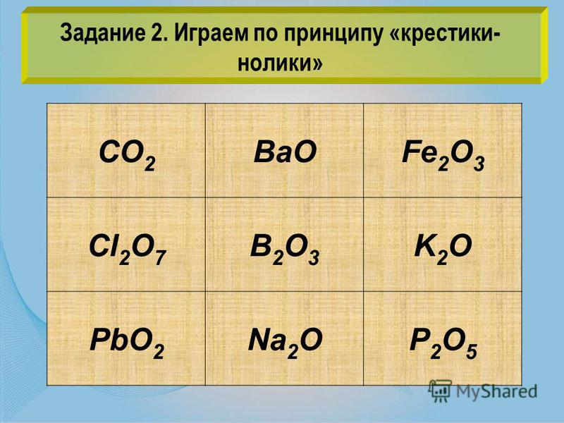 CO 2 BaOFe 2 O 3 Cl 2 O 7 B2O3B2O3 K2OK2O PbO 2 Na 2 OP2O5P2O5 Задание 2. Играем по принципу «крестики- нолики»