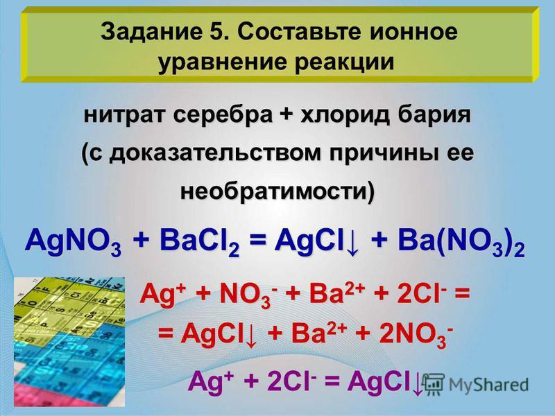 Задание 5. Составьте ионное уравнение реакции нитрат серебра + хлорид бария (с доказательством причины ее необратимости) AgNO 3 + BaCl 2 = AgCl + Ba(NO 3 ) 2 Ag + + NO 3 - + Ba 2+ + 2Cl - = = AgCl + Ba 2+ + 2NO 3 - Ag + + 2Cl - = AgCl