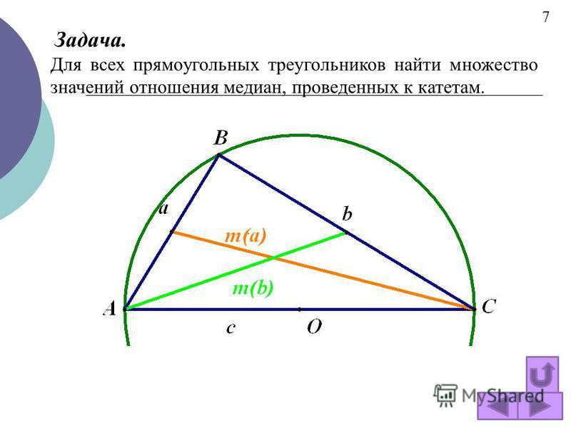 . Задача. Для всех прямоугольных треугольников найти множество значений отношения медиан, проведенных к катетам. 7