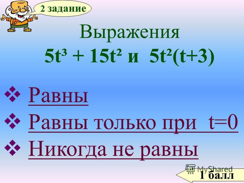 2 задание 1 балл Выражения 5t³ + 15t² и 5t²(t+3) Равны Равны только при t=0 Никогда не равны Никогда не равны