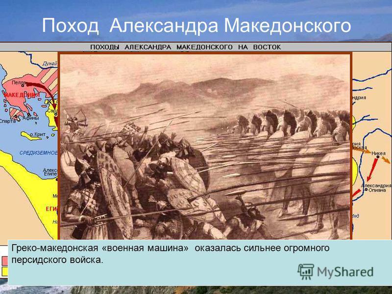 Поход Александра Македонского Греко-македонская «военная машина» оказалась сильнее огромного персидского войска.