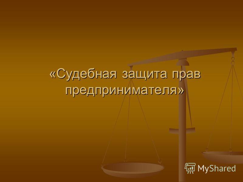 «Судебная защита прав предпринимателя»