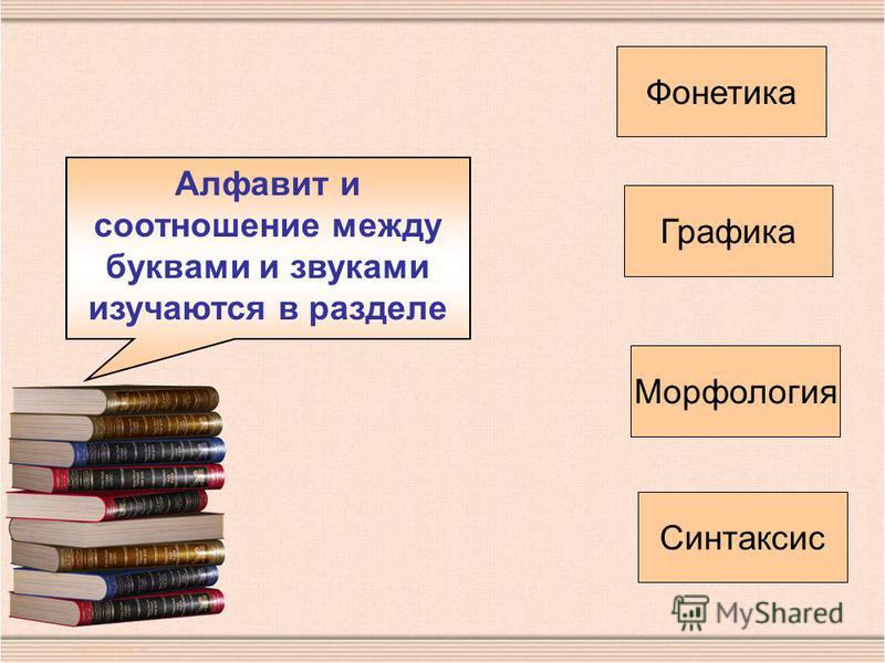 Алфавит и соотношение между буквами и звуками изучаются в разделе Фонетика Графика Морфология Синтаксис