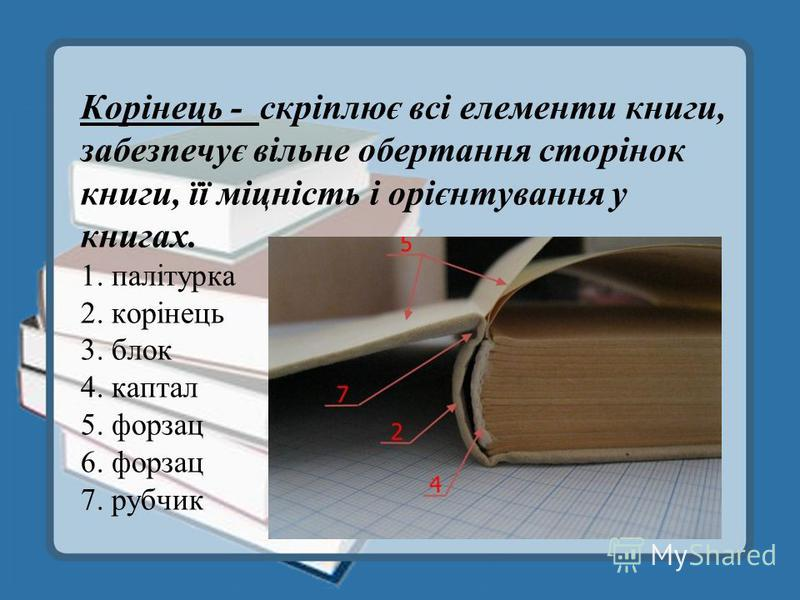 Корінець - скріплює всі елементи книги, забезпечує вільне обертання сторінок книги, її міцність і орієнтування у книгах. 1. палітурка 2. корінець 3. блок 4. каптал 5. форзац 6. форзац 7. рубчик