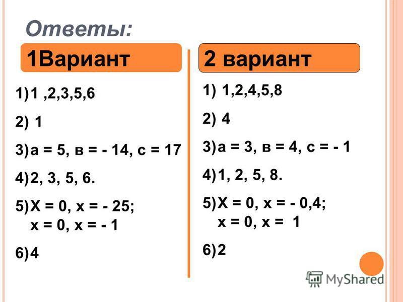 Ответы: 1Вариант 2 вариант 1)1,2,3,5,6 2) 1 3)а = 5, в = - 14, с = 17 4)2, 3, 5, 6. 5)Х = 0, х = - 25; х = 0, х = - 1 6)4 1) 1,2,4,5,8 2) 4 3)а = 3, в = 4, с = - 1 4)1, 2, 5, 8. 5)Х = 0, х = - 0,4; х = 0, х = 1 6)2