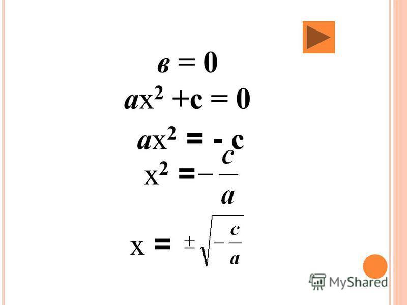 в = 0 ах 2 +с = 0 ах 2 = - с х 2 = х =