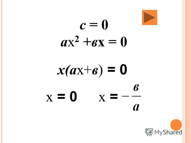 с = 0 ах 2 +вх = 0 х(ах+в) = 0 х = 0 х =