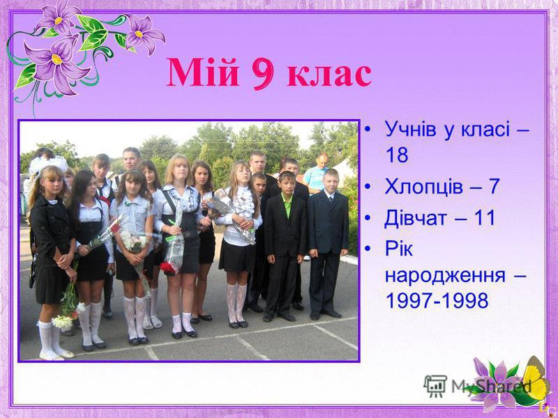 Мій 9 клас Учнів у класі – 18 Хлопців – 7 Дівчат – 11 Рік народження – 1997-1998