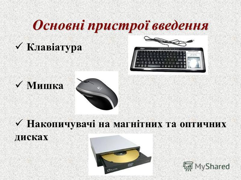 Клавіатура Мишка Накопичувачі на магнітних та оптичних дисках Основні пристрої введення