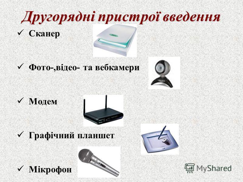Сканер Фото-,відео- та вебкамери Модем Графічний планшет Мікрофон Другорядні пристрої введення