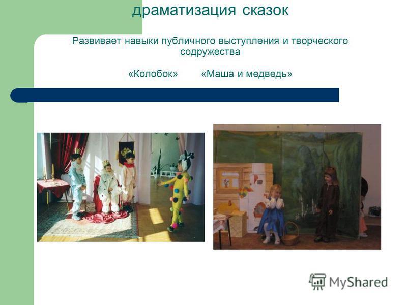 драматизация сказок Развивает навыки публичного выступления и творческого содружества «Колобок» «Маша и медведь»