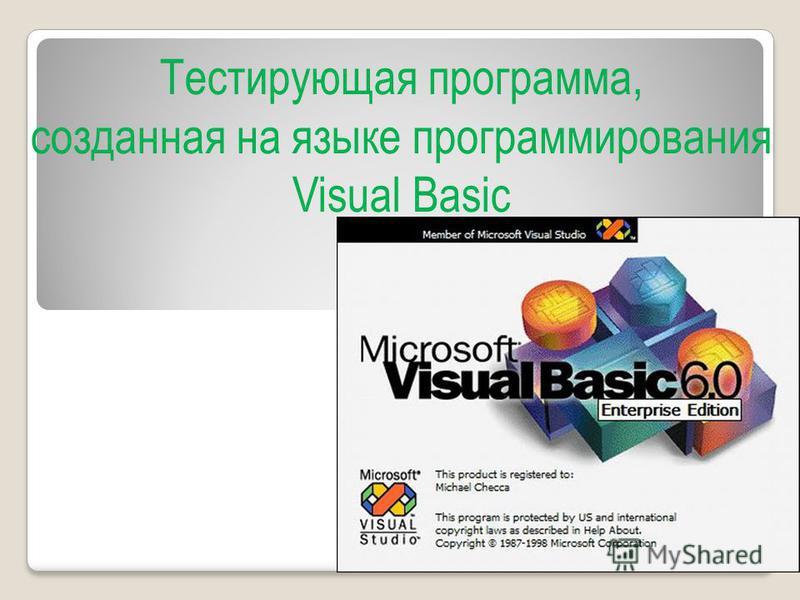 Тестирующая программа, созданная на языке программирования Visual Basic