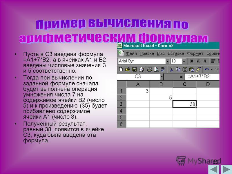 34 Арифметические формулы аналогичны математическим соотношениям. В них используются арифметические операции (сложение «+», вычитание «-», умножение «*», деление «/», возведение в степень «^». При вычислении по формулам соблюдается принятый в математ