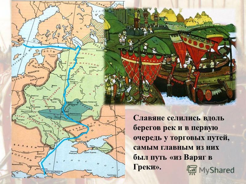 Славяне селились вдоль берегов рек и в первую очередь у торговых путей, самым главным из них был путь «из Варяг в Греки».