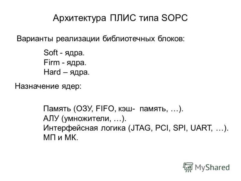 Архитектура ПЛИС типа SOPC Варианты реализации библиотечных блоков: Soft - ядра. Firm - ядра. Hard – ядра. Назначение ядер: Память (ОЗУ, FIFO, кэш-память, …). АЛУ (умножители, …). Интерфейсная логика (JTAG, PCI, SPI, UART, …). МП и МК.