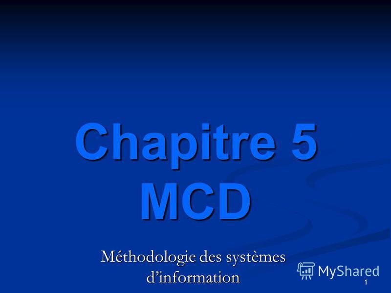 1 Méthodologie des systèmes dinformation Chapitre 5 MCD