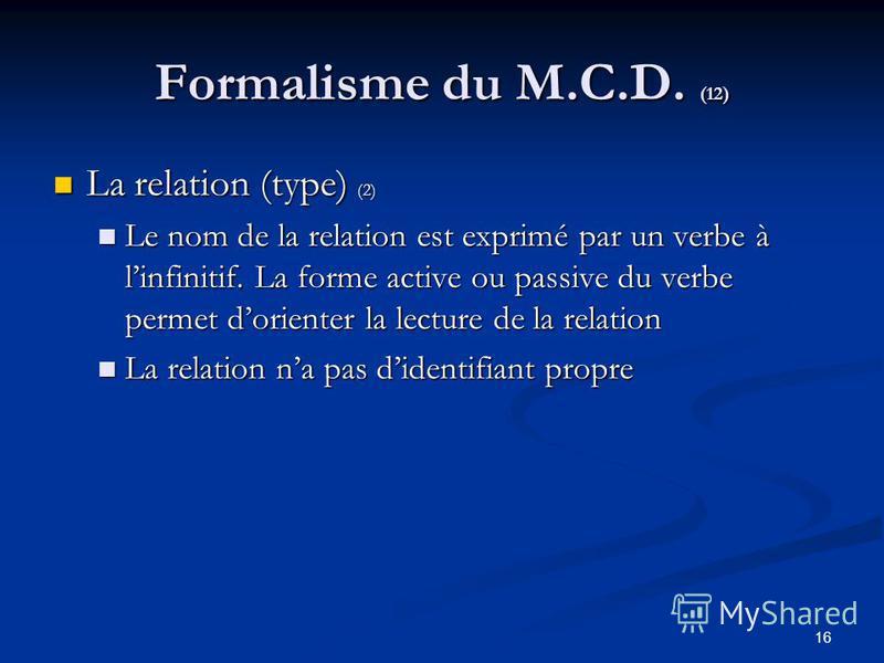 16 Formalisme du M.C.D. (12) La relation (type) (2) La relation (type) (2) Le nom de la relation est exprimé par un verbe à linfinitif. La forme active ou passive du verbe permet dorienter la lecture de la relation Le nom de la relation est exprimé p