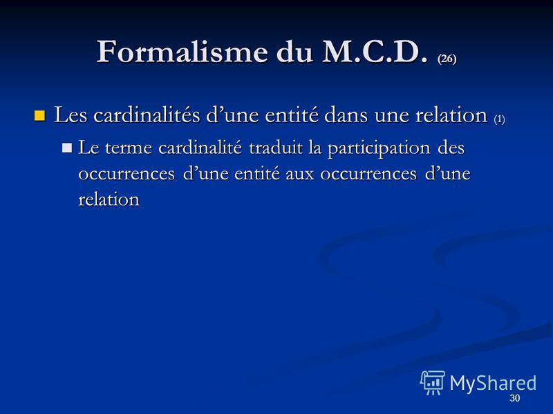 30 Formalisme du M.C.D. (26) Les cardinalités dune entité dans une relation (1) Les cardinalités dune entité dans une relation (1) Le terme cardinalité traduit la participation des occurrences dune entité aux occurrences dune relation Le terme cardin