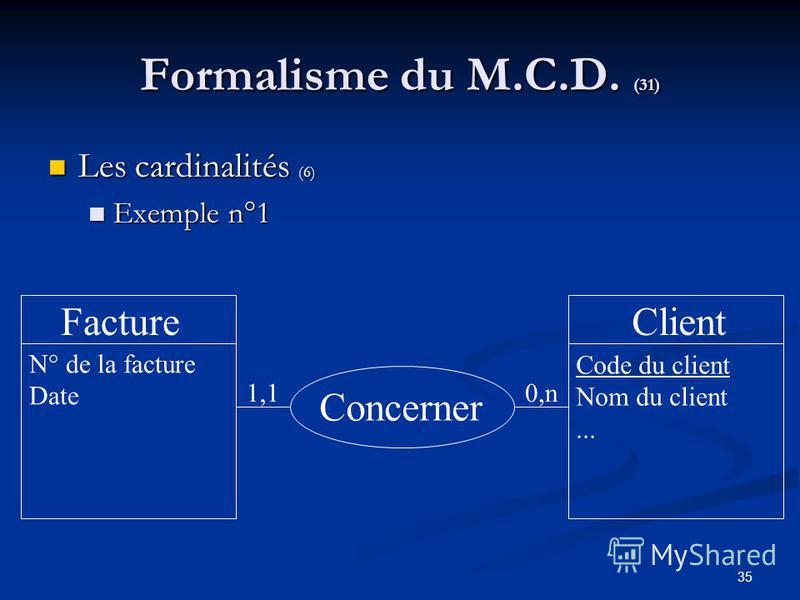 35 Formalisme du M.C.D. (31) Les cardinalités (6) Les cardinalités (6) Exemple n°1 Exemple n°1 FactureClient Concerner Code du client Nom du client... 1,10,n N° de la facture Date