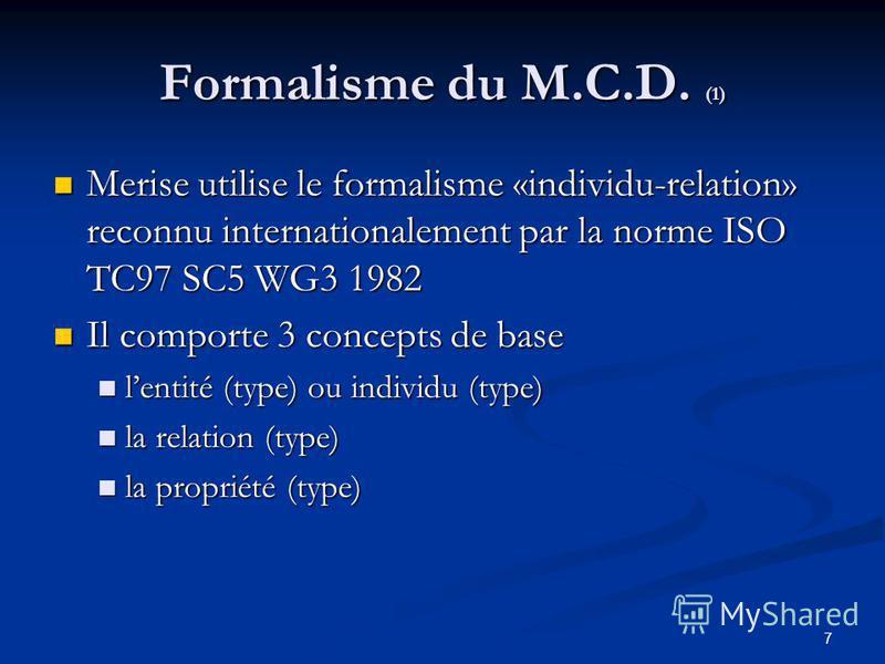 7 Formalisme du M.C.D. (1) Merise utilise le formalisme «individu-relation» reconnu internationalement par la norme ISO TC97 SC5 WG3 1982 Merise utilise le formalisme «individu-relation» reconnu internationalement par la norme ISO TC97 SC5 WG3 1982 I