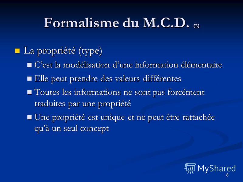 8 Formalisme du M.C.D. (2) La propriété (type) La propriété (type) Cest la modélisation dune information élémentaire Cest la modélisation dune information élémentaire Elle peut prendre des valeurs différentes Elle peut prendre des valeurs différentes