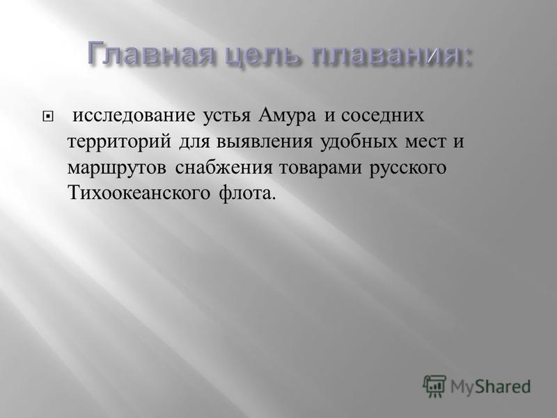 исследование устья Амура и соседних территорий для выявления удобных мест и маршрутов снабжения товарами русского Тихоокеанского флота.