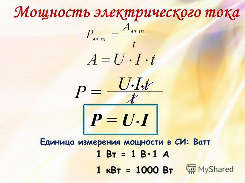 Мощность электрического тока Р = U I U I t Р = t Единица измерения мощности в СИ: Ватт 1 Вт = 1 В1 А 1 к Вт = 1000 Вт