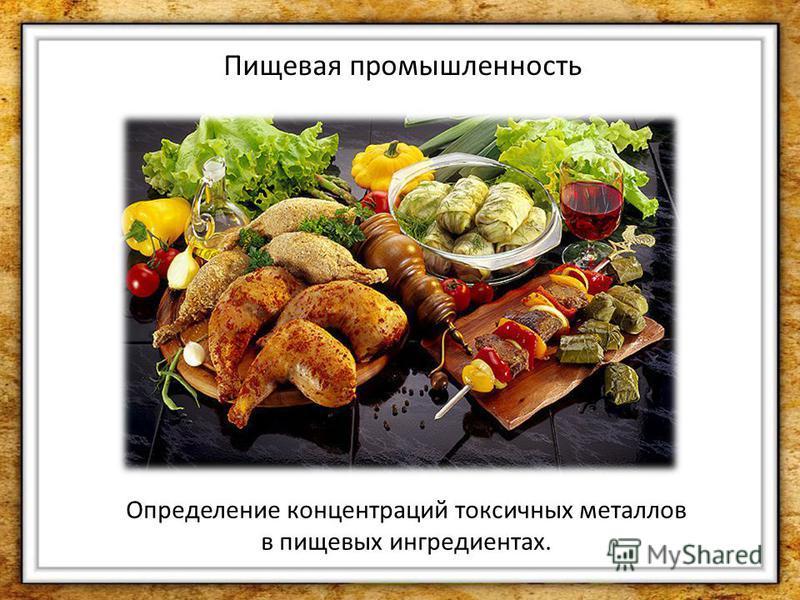 Пищевая промышленность Определение концентраций токсичных металлов в пищевых ингредиентах.