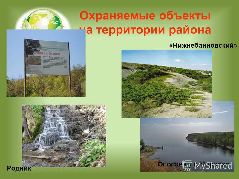 Охраняемые объекты на территории района «Нижнебанновский» Оползни у с.Мордово Родник